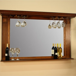 American Heritage Billiards - AHB Kokomo Back Bar Mirror Multicolor - 100811VO.1 - Shop for Mirrors from Hayneedle.com! Garnish your home bar traditionally with the AHB Kokomo Back Bar Mirror. Crafted with solid oak in a warm classic oak finish this large mirror is ideally appointed for the home bar. A shelf at the base is perfect for wine and liquor bottles and at the top an integrated stemware rack gives you a place to artfully store and display wine glasses. Beveled-edge glass is clear and space-opening and traditional details like carved accents and molding make this an accessory for a homey place where everyone knows your name.American Heritage BilliardsBefore founding American Heritage Billiards back in 1987 the owners were building pool tables in high school learning the industry from the ground up. Today their 170 000 sq.-ft.-facility centrally located in Cleveland Ohio is the largest billiards manufacturer in the world the leader in design selection service and value.Each item of entertainment furniture is meticulously designed and engineered to withstand the test of time utilizing old-fashioned wood joinery methods. The vast majority of our metal products have welded joints to provide a lifetime of carefree service.