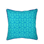 """NECTARmodern - And In Summation (blue) geometric throw pillow 20"""" x 20"""" - Light and darker blues together in a graphic dye printed design. Rolled contrast piping around the edge. Designer quality cover with overstuffed feather/down insert."""