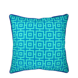 "NECTARmodern - And In Summation (blue) geometric throw pillow 20"" x 20"" - Light and darker blues together in a graphic dye printed design. Rolled contrast piping around the edge. Designer quality cover with overstuffed feather/down insert."