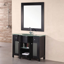 Design Element - Design Element Catherine Tempered Glass Wood Bathroom Vanity Set - Add a finishing touch to your bathroom with this bathroom vanity set. This vanity features plenty of storage space, a chrome faucet and rich mahogany finish.