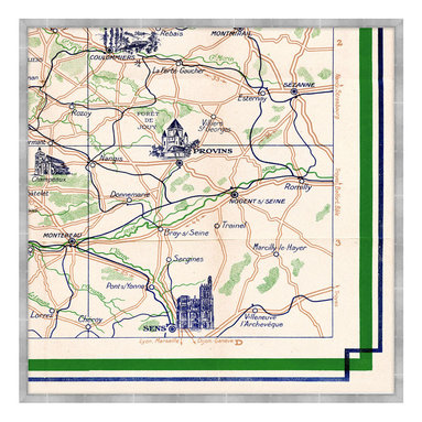 Plan Guide Monuments de Paris F Framed Giclee - Evocative of a Paris sojourn, when traversing narrow pathways led to bijou bistros and well-traveled roads pointed toward majestic monuments. In vivid green and deep navy blue, the Plan Guide Monuments de Paris F illustrates, in classic style, a component of an intricate map detailing the intoxicating attractions of the City of Light and its surroundings, including Provins and Sens. An exceptional addition to a grand library, great room, or French-inspired kitchen.