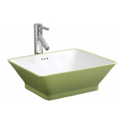 Renovators Supply - Vessel Sinks Lime/White Porcelain Duet Rectangular Vessel Sink | 17702 - Vessel Sinks Above Counter: Made of Grade A vitreous China these sinks endure daily wear and tear. Our protective RENO-GLOSS finish resists common household stains and makes it an EASY CLEAN wipe-off surface. Ergonomic and elegant easy reach design reduces daily strain placed on your body. SPACE-SAVING design maximizes limited bathroom space. Easy, above counter installation let's you select from many faucet styles and countertop designs, sold separately. Measures 18 1/2 inch W.