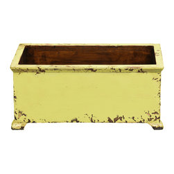 Antique Revival - Butter Med. Size French Style Planter - This rectangular, wooden french planter is a functional accent piece. It works both indoors and outdoors and has four stub legs. Item is newly made from pine.
