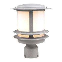 PLC Lighting - PLC 1 Light Outdoor Post Mount Light Tusk Collection 1896/CFL SL - -Finish: Silver