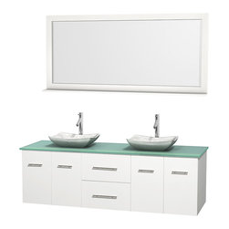 "Wyndham Collection - Centra 72"" White Double Vanity, Green Glass Top, White Carrera Marble Sinks - Simplicity and elegance combine in the perfect lines of the Centra vanity by the Wyndham Collection. If cutting-edge contemporary design is your style then the Centra vanity is for you - modern, chic and built to last a lifetime. Available with green glass, pure white man-made stone, ivory marble or white carrera marble counters, with stunning vessel or undermount sink(s) and matching mirror(s). Featuring soft close door hinges, drawer glides, and meticulously finished with brushed chrome hardware. The attention to detail on this beautiful vanity is second to none."