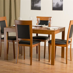 "Aeon Furniture - Westport Dining Table Set with Newport Dining - Set includes table and 4 chairs. Westport Dining Table:. Study Solid Beech Wood Frame. Beech Veneer Over MDF Table Top. Extendable via Sliding Mechanism and Hidden Leaf. CARB Rated. Warm Cherry Finish. Assembly Required. Open: 64 in. L x 31.5 in. W x 29.25 in. H. 46.5 in. L x 31.5 in. W x 29.25 in. H (66 lbs.). Newport Dining Chairs: Stylishly Designed Solid Beech Wood Dining Chairs in a Warm Cherry Finish with a Black Leatherette Fire Resistant Padded Foam Seat and Back. CARB Rated. Assembly Required. Seat Height: 18 in.. 20 in. L x 18 in. W x 37.25 in. H (12.75 lbs.)With its great look and contemporary design, this extendable dining table meets your dining and entertainment needs while enhancing the look of your home.  The table is constructed of a solid beech wood frame, stained in a warm cherry finish.   The self-contained 17.5"" extension leaf easily transforms this table from an intimate piece to the social center of your home. Stylishly designed with functionality and comfort in mind, this solid beech wood chair is simple yet elegant.  Its padded back and seat comfortably encourages guests to linger for quality time with family and friends."