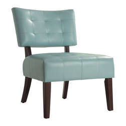 INSTEN - Smith Collection Sky Blue Accent Chair - With the cherry wood, blue, accent chair you will find that youve added some style to your space. The chair features a sky-blue color and a comfortable foam seat covered in vinyl. The chair is a nice addition to your living room.