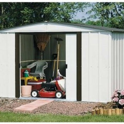 Arrow Newburgh 8 x 6 ft. Shed - With the Arrow Newburgh 8 x 6 ft. Shed, you can show those raccoons who's boss. With easy-sliding doors that can be padlocked, this shed is an ideal place to keep trash cans until collection day. But its ample storage capacity also makes it a perfect space to store all your tools, allowing you to avoid clutter in your yard, basement, or garage. Perfect for everything from tools to toys to holiday trimmings, this roomy shed can organize all those outdoor miscellanea that tend to otherwise stuff your living spaces. The handsome look of the eggshell and coffee color combination also adds a crisp clean appearance that compliments any exterior design or landscaping. The low gable allows you plenty of room to get in and move around. Made in the United States, this shed is constructed with electro-galvanized steel, making it affordable, durable, and attractive. With numbered and predrilled parts, this shed can be assembled quickly and easily as a weekend project with basic DIY skills.Additional Features:Exterior Dimensions: 99.75W x 71.25D x 67.88H inchesInterior Dimensions: 94.75W x 66D x 66.63H inchesDoor Dimensions: 43.5W x 58H inchesAbout Arrow ShedsEstablished in 1962 as Arrow Group Industries, Arrow Sheds is now the worldwide leader in designing, manufacturing, and distributing steel storage sheds that are easily assembled from a kit. Arrow Sheds hasn't garnered its 12 million customers by resting on its laurels either. The company takes great pride in having listened to their customers over the years to develop quality products that meet people's storage needs. From athletic equipment to holiday decorations, from tools to recreational vehicles, Arrow Sheds prides itself on providing quality USA-built structures that offer storage solutions. Available in a wide variety of sizes, models, finishes, and colors - Arrow's sheds are constructed with electro-galvanized steel to be more affordable, durable, attractive, and easy to assemble.