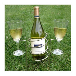 Vinotemp - Wine Bottle and Glass Holding Stakes - Includes one bottle holder and two stemware holders. Ideal for use in any outdoor setting. Lead time: 3 to 5 days. Made from high-quality stainless steel for durability. 3.13 in. W x 10.5 in. H. WarrantySafely and securely hold a bottle and stemware in any outdoor setting. Simply push them into the ground to avoid unnecessary spills and enjoy a hands-free dining experience. As a part of the stylish selection offered by epicureanist, this product makes a great gift for any wine lover.