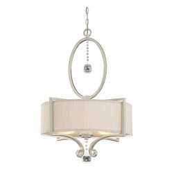 Savoy House - Rosendal Pendant - Contemporary collection shines in a brilliant Silver Sparkle finish, accentuated by a large crystal drop and fabric shades that glisten in iridescent champagne.