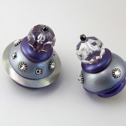 """Susan Goldstick, Inc. - Parfum Cabinet knobs - Parfum knobs available in 2"""" and 2.1/2"""" diameter.  Shown in light blue and periwinkle purple, the knobs are embellishe with silver metals and Swarovski crystals and coated with a durable varnish. Parfum knobs can also be used as drapery rod finials. Use a dowel screw to attach to a wooden rod 1 3/8"""" and 1 3'/4""""diameter"""
