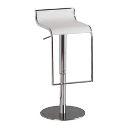 J&M Furniture - White Leather C027B-3 Barstool - It swivels 360 degrees and has a hydraulic adjustable seat. Its solid stainless steel base makes it durable enough for use in any situation. Its hydraulic height adjustment emphasizes its quality. This C027B-3 White Leather Barstool by M Furniture features curved leather and chrome design.