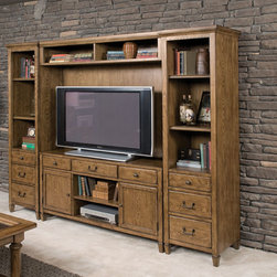 American Drew 114-580 Americana Home Entertainment Unit - American Drew 114-580 Americana Home Entertainment Unit Sku: 114-580Manufacturer: American DrewCollection: Americana Home Series Finish: Warm Khaki Oak Select Items: Weathered White Series Code: 114Product Code: 580Parent Product: 580Weight: 212Cubes: 29C Width: 63.49C Depth: 22.35C Height: 35.34Product Width: 60Product Depth: 19Product Height: 30Notes: Wire Management3 Drawers1 Adjustable Shelf in Center Opening: W22 D18 H172 Wood Doors w/Glass inserts w/1 Adjustable Shelf behind eachOutside Opening: W16 D18 H17
