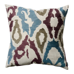 "KOKO - Blue and Plum Pillow, 20"" x 20"" - A classic ikat pattern is the perfect way to add a bit of eclectic charm to any seating arrangement. You will love the added texture this embroidered pattern brings. A couple of these on your bed or sofa would provide just the right amount of tribal style."