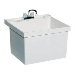 SWAN - SWAN ST10000WM.001 Single Basin Wall Mount Utility Sink - ST10000WM.001 - Shop for Commercial Laundry and Utility from Hayneedle.com! The SWAN ST10000WM.001 Single Basin Wall Mount Utility Sink is a simple addition to any laundry room or utility room that adds a convenient sink or soaking station. Molded from solid white Veritek the unit features no surface coating to damage and features an integrated no-drip drain. The unit has a maximum capacity of 22 gallons. The piece mounts easily to the wall and comes with the necessary bracket assembly and hardware. Unit features a molded back-shelf and comes pre-drilled for a 4-inch center faucet (not included).About Trumbull IndustriesFounded in 1922 as a single branch plumbing supply house Trumball Industries has evolved over the years in to a privately held corporation and full-line distributor with specialized divisions. With 6 branch locations Trumball Industries has several divisions: an Industrial Division that provides products and services to industrial manufacturers a Home Center Division that offers expertise in all major kitchen and bath products a Municipal Division that offers a full line of water and sewer products and a Master Distribution Center with 500 000 square feet housing over 80 000 products. Aside from providing quality services to their customers the people at Trumbull Industries are happy provide a tour of any of their facilities as well as assist you with any design layout or purchasing decisions.