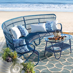 Grandin Road - Rizza Armless Chair - Retro-modern, curved outdoor sectional. Versatile, modular design; add more pieces and make a larger conversation circle. Crafted in the style of traditional rattan and made to live outdoors. Extra deep, contoured seats. Frames made from colorfully powdercoated, all-weather aluminum. Revel in the season as you lounge in the deeply contoured seats and bold, colorful design of our retro-modern Rizza outdoor sectional. Experience the same timeless details found in our Rizza outdoor chair and loveseat, translated into curved, modular seating. Each piece is made in the fashion of traditional rattan, but is crafted from all-weather aluminum that's sculpted and tightly wrapped with colorful resin so it's made to live outdoors for seasons to come. Select your favorite color and get ready to lounge and relax all season long.  .  .  .  .  . Seats and seat backs sculpted from colorful resin strips and strands . Coordinates perfectly with the Rizza Collection . A Grandin Road exclusive.