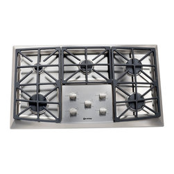Verona 36-inch Front Control Gas Cooktop - Verona 36-inch Front Control Gas Cooktop in stainless steel.  Featuring 5 European sealed high btu gas burners, continuous cast iron grates and electronic ignition & re-ignition.