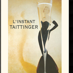 Amanti Art - L'Instant Taittinger Framed Print by Vintage - This vintage poster of a tall, thin, seductive champagne glass expresses the instant allure of Taittinger, the queen of champagne.