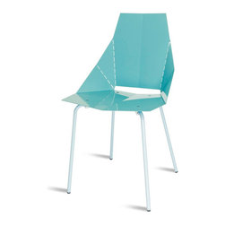 "Blu Dot - ""Blu Dot Real Good Chair, Aqua"" - ""Thin is in. Powder-coated steel ships flat and folds along laser-cut lines to create a dynamic and comfortable chair. As skinny as a supermodel yet far more sturdy. Available in aqua, ivory and white with gray legs or four glossy tone-on tone colors: black, green, humble red or navy. Also available in copper."""