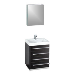 """Fresca - Livello 24"""" Black Vanity w/ Medicine Cabinet Cascata Brushed Nickel Faucet - The Livello 24"""" vanity features four pull out drawers that come equipped with slow closing hinges.  Its sink is made with a durable acrylic material that is less likely to break then tradition ceramic, it also cleans better.  This vanity's minimal design will make your bathroom feel like a modern oasis.  Many faucet styles to choose from."""