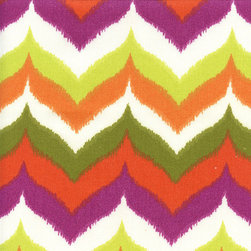 "Glamis Terrace Citron Green Ikat Chevron Outdoor Fabric - More of a ""go bold or go home"" kind of person? This visually impactful chevron number looks almost like it was hand painted."