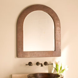 Sedona Arch Copper Mirror by Native Trails - Who's the fairest one of all? Sedona Arch Copper Mirror, of course! Subdued and alluring, Sedona's unique shape provides a perfect landscape for the hand-hammered detail and Antique copper patina.