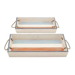 """BZBZ78700 - Wood Tray with Durable and Long Lasting Life - Set of 2 - Wood Tray with Durable and Long Lasting Life - Set of 2. Stylish and practical, this wooden tray helps you to store your knick-knacks safely. It comes with the following dimensions: 18""""W x 13""""D x 2""""H. 15""""W x 11""""D x 2""""H."""