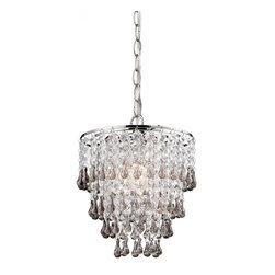 Sterling Industries - Teak And Clear  Crystal Pendant Lamp - Teak And Clear  Crystal Pendant Lamp