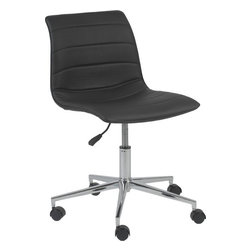 Eurø Style - Ashton Office Chair in Black Leatherette - This Ashton Office Chair with foam seat and back in black leatherette upholstery will be a nice addition to any office. The chair is also available in white finish.
