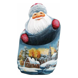 """Artistic Wood Carved Winter Landscape Santa Claus Sculpture - Measures 7""""H x 3.5""""L x 3.25""""W and weighs 1 lb. G. DeBrekht fine art traditional, vintage style sculpted figures are delightful and imaginative. Each figurine is artistically hand painted with detailed scenes including classic Christmas art, winter wonderlands and the true meaning of Christmas, nativity art. In the spirit of giving G. DeBrekht holiday decor makes beautiful collectible Christmas and holiday gifts to share with loved ones. Every G. DeBrekht holiday decoration is an original work of art sure to be cherished as a family tradition and treasured by future generations. Some items may have slight variations of the decoration on the decor due to the hand painted nature of the product. Decorating your home for Christmas is a special time for families. With G. DeBrekht holiday home decor and decorations you can choose your style and create a true holiday gallery of art for your family to enjoy. All Masterpiece and Signature Masterpiece woodcarvings are individually hand numbered. The old world classic art details on the freehand painted sculptures include animals, nature, winter scenes, Santa Claus, nativity and more inspired by an old Russian art technique using painting mediums of watercolor, acrylic and oil combinations in the G. Debrekht unique painting style. Linden wood, which is light in color is used to carve these masterpieces. The wood varies slightly in color."""