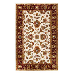 """Sonal 3813 Ivory/Red Mahal Rug - Sonal 3813 Ivory/Red Mahal 2'3"""" x 7'6"""" Runner. Hand-Tufted of 100% Wool with Cotton Backing. Made in India. Vacuum regularly & spot clean stains. Professional cleaning recommended periodically."""