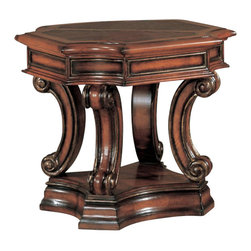 Yuan Tai - Cartago End Table - Octagonal shape. One shelf. Alligator printed top grain leather top. Warranty: Six months limited. Made from solid and wood veneers. Dark cherry finish. Assembly required. 28 in. W x 28 in. D x 22 in. H (77 lbs.)