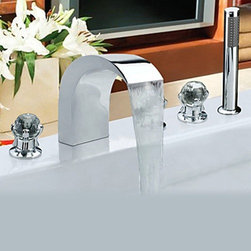 Bathtub Faucets - Contemporary Chrome Finish Stainless Steel Widespread Bathtub Faucets with Handheld Faucet--FaucetSuperDeal.com