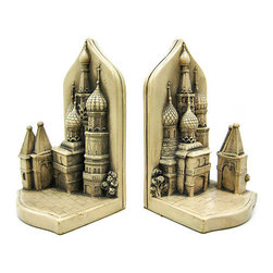Zeckos - St. Basils Cathedral Bookends Book Ends Russia - Saint Basil's Cathedral is a multi-tented church on the Red Square in Moscow that also features distinctive onion domes. It is very often mistaken for the Church of the Savior on Blood, located in St. Petersburg. In the West, it is frequently confused with the Kremlin which overlooks it. Arguably the most recognized building in Russia, it is an international symbol for the nation and for the city of Moscow. Made of cold cast resin, this stunning pair of St Basil's Cathedral bookends is part of the Historical Wonders Collection. Measuring 7 1/4 inches tall, 4 inches deep and 7 inches wide, they show excellent detailing, and add class and style to any bookshelf or table. This pair also makes a great present for the holidays or for housewarming gifts.