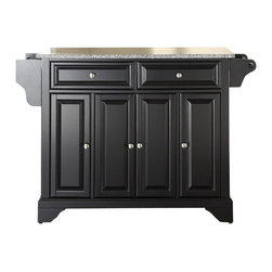 Crosley Furniture - LaFayette Solid Granite Top Kitchen Island in - Beautiful Raised Panel Doors. Brushed Nickel Hardware. Total of Three Adjustable Shelves Inside Cabinet. Spice Rack with Towel Bar. Towel Bar / Paper Towel Holder. Solid Granite Top. Solid Hardwood & Veneer Construction. 36 in. H x 52 in. W x 18 in. D (160.5 lbs.)Constructed of solid hardwood and wood veneers, this kitchen island is designed for longevity. The beautiful raised panel doors and drawer fronts provide the ultimate in style to dress up your kitchen. Two deep drawers are great for anything from utensils to storage containers. Behind the four doors, you will find adjustable shelves and an abundance of storage space for things that you prefer to be out of sight. Style, function, and quality make this mobile kitchen cart a wise addition to your home.