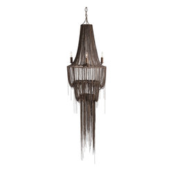 Yale 4L Iron Cascading Chain Chandelier - Dramatic and dark, the Yale Cascading Chain Chandelier is made from staggered lengths of fine and falling chain draped into tiers and hanging in a long central tassel, artfully arranged for a wispy grandeur.  Four lights placed on the outside of the magnificent structure illuminate the room and increase the drama of the dark brass oxide metal.  The chandelier is perfect for adding an unusual edge and unmistakable polish to a high-ceilinged traditional room.