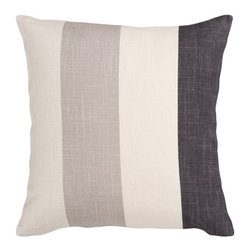 Gray Tonal Stripe Pillow - This cushy neutral pillow delivers on cozy comfort and classic, easygoing style. The viscose-linen blend cover gives you a quartet of hazy grays to use as a backdrop for other pillows or celebrate stylishly on its own.