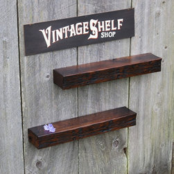 Pair of Vintage White Oak Floating Shelves - Stunning reclaimed white oak floating shelves. Deep, rich antique oak color variation. Heavy reclaimed character. Polished and buffed to a smooth satin luster. Perfect fit of design and style for any decor. Keyhole fasteners installed for easy, secure installation. Light coats of varnish.