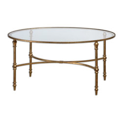 Uttermost 24338 Vitya Gold Leaf Coffee Table - Uttermost 24338 Vitya Gold Leaf Coffee Table*Collection: Vitya*Designed by Matthew Williams*Clear Tempered Glass Table Top*Weight: 48