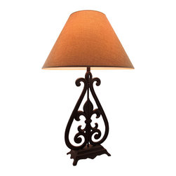 Zeckos - Fleur De Lis Decorative Rustic Metal Table Lamp with Tweed Look Shade - With the timeless charm of the Fleur de Lis symbol cast into this sculptural lamp, it will lend its beauty of the ages to set your living room aglow, or while lighting your entryway or dining room. Crafted from metal, it features a rustic brown finish sure to complement most decor styles, and a soft scrolling design giving it a touch of antique charm. It includes a beige tweed look 10.5 inch high, 17.5 inch diameter fabric lined shade, and uses 1 standard size bulb (not included). It's sure to make quite an impression at 28.5 inches high, 10.25 inches long and 4.75 inches wide (72 x 26 x 12 cm), while the inch long cord allows for a variety of placement options. This classic Fleur de Lis inspired lamp is a classic accent for your home or office, and would make a wonderful housewarming gift
