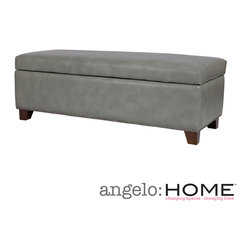 ANGELOHOME - angelo:HOME Kent Vintage Dove Gray Renu Leather Wall Hugger Trunk Storage Ottoma - The angelo:HOME Kent bench trunk ottoman with storage was designed by Angelo Surmelis. The Kent wall hugger bench storage trunk can fit up against a wall while still being able to open the lid easily.