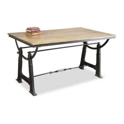 Interlude Home - Interlude Home Luzzano Table - This Interlude Home Table is crafted from Wood and Metal and finished in Limewash and Natural Antique.  Overall size is:  67 in. W  x  41 in. D x 34 in. H.