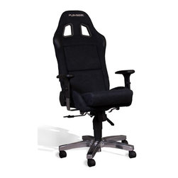 Playseat - Alcanatara Office Chair in Black - Optional gaming kits available for use with most electronic gaming mice, keyboards, joysticks and racing wheel sets. Patented foldable seat with reclinable backrest. Seat fully upholstered with real leather look vinyl. Gas cylinder lift system for height adjustments. Height adjustable arm rest with soft touch cushion. This Playseat Office Chair has the look and feel of a real racing seat but with the comfort that you need when sitting multiple hours at your desk. A high quality gas cylinder lift system makes sure the driver is positioned optimally for the perfect racing experience. The seat is upholstered with the highest quality black alcantara. The patented foldable seat with adjustable backrest provides ultimate flexibility. 24.5 in. L x 25.5 in. W x 50.5 in. H (44 lbs)
