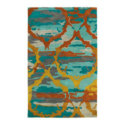 """Kaleen - Kaleen Brushstrokes Collection BRS02-91 2'6"""" x 8' Teal - The artistic inspirations of the Brushstrokes collection finally brings you a true piece of art for your floor! Beautiful hand-painted designs accentuated from a smooth and steady motion, this assortment features a unique spotlight of fantastic color combinations. Each rug is perfectly executed and detailed in this 100% wool, hand-tufted rug made in India."""