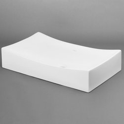 """RonBow - RonBow 200032-WH White  25-9/16"""" Rectangle Ceramic Vessel Sink Less - 26   Rectangle Ceramic Vessel Sink Less Overflow Product Specifications:  Overall Width: 25.563"""" Overall Height: 5.125"""" Overall Depth: 15.375"""" Product Weight: 32 lbs.  Product Features:  Does not include overflow Drain sold separately"""