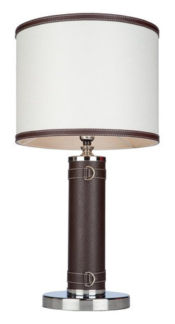 Artcraft Lighting - Artcraft Lighting ART-SC878WH Bay Street Table Lamp with Om - The Bay Street Collection by Steven & Chris, small table lamp features a leather wrapped base and oatmeal or white shade (White shade shown)