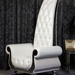 Luxe - Neo-Classical White Italian Leather Tall Arm Chair -