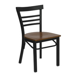Flash Furniture - Flash Furniture Hercules Series Black Ladder Back Chair in Cherry - Flash Furniture - Dining Chairs - XUDG6Q6B1LADCHYWGG - Provide your customers with the ultimate dining experience by offering great food, service and attractive furnishings. This heavy duty commercial metal chair is ideal for restaurants, hotels, bars, lounges, and in the home. Whether you are setting up a new facility or in need of a upgrade this attractive chair will complement any environment. This metal chair is lightweight and will make it easy to move around. This easy to clean chair will complement any environment to fill the void in your decor. [XU-DG6Q6B1LAD-CHYW-GG]