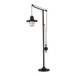 Elk - Farmhouse Oiled Bronze Floor Lamp - The Farmhouse Floor Lamp has a charming antique-inspired design, and is the perfect light to fit into your vintage home decor. with an oiled bronze finish and easily adjustable height, this piece embodies both the beauty and the functionality of turn of the century lighting. The Farmhouse Table Lamp is a versatile piece, and would fit well into any room from the dining room to the bedroom. To add cohesiveness to your home decor, we suggest pairing this item with its smaller version, the Farmhouse Table lamp.