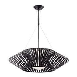 Possini Euro Planet Chrome and Black Pendant Chandelier - Add midcentury modern style over your dining or kitchen table with this sculptural chrome light by Possini.